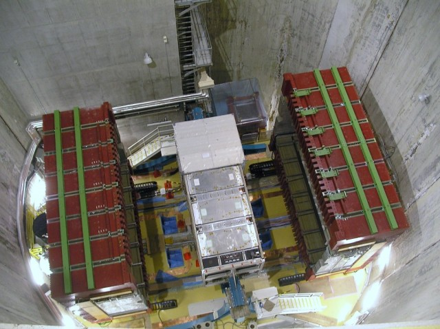 The ND280 near detector, photographed with the magnet open. This detector is used to measure the neutrino beam before oscillations can occur and to measure neutrino interactions.