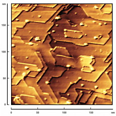 Scanning tunnelling microscope image of surface of scandium