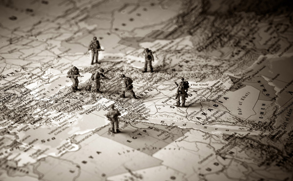 Toy soldiers on a map