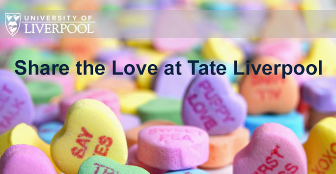 Tate Love Blog graphic with love heart sweets