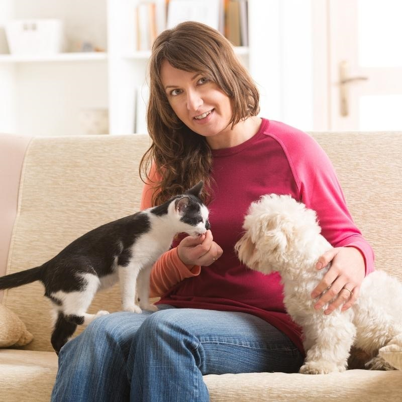 Woman wearing pink jumper sat on sofa with black and white cat and white dog