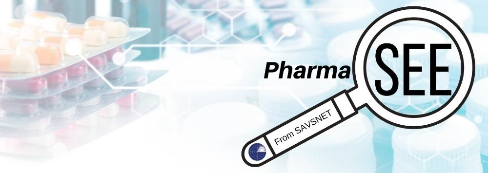 artistic style medicines behind a logo using a magnifying glass and the word 'Pharmasee' with the SAVSNET logo