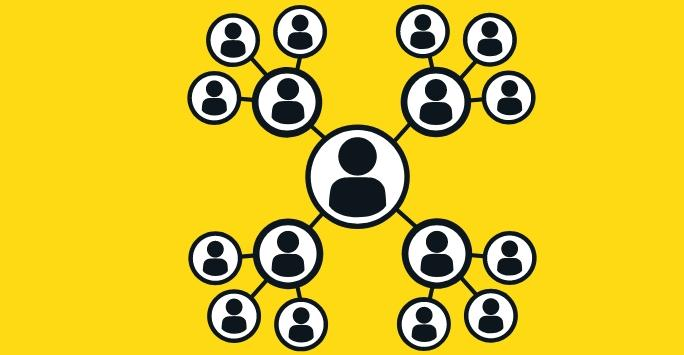 schematic organisational chart with black logos of people on a yellow background