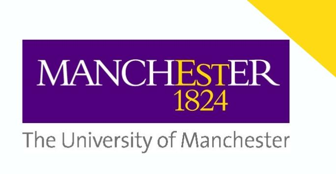 Purple University of Manchester logo on a white background with a yellow triangle in the top right corner