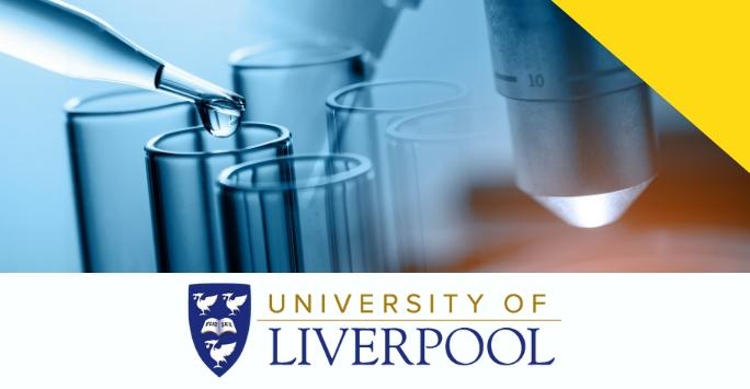 image of test tubes, pipettes and microscope above the University of Liverpool logo with a yellow logo in the top right corner