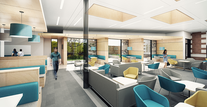 Animated impression walk-through of new Student Hub in Cedar House