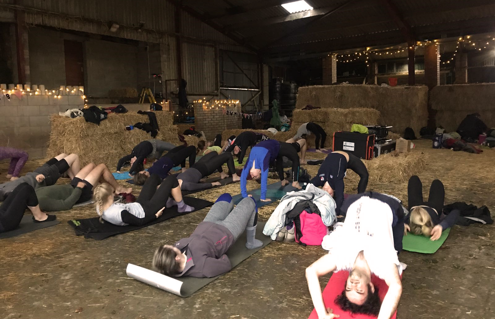 Students performing yoga at the 2018 wilderness society retreat