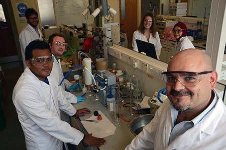 Dr Lopez-Sanchez and his team in the lab at University of Liverpool
