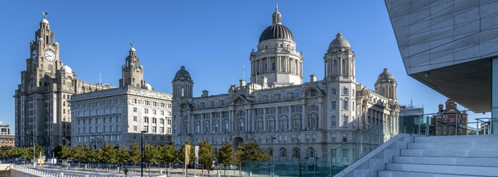 Photograph of the three graces and the Museum of Liverpool