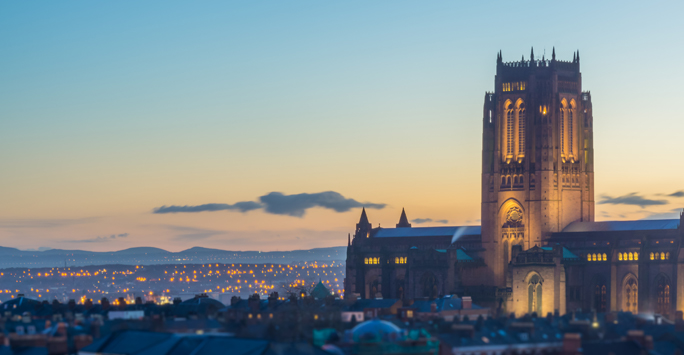 Liverpool Anglican Cathedral in sunset