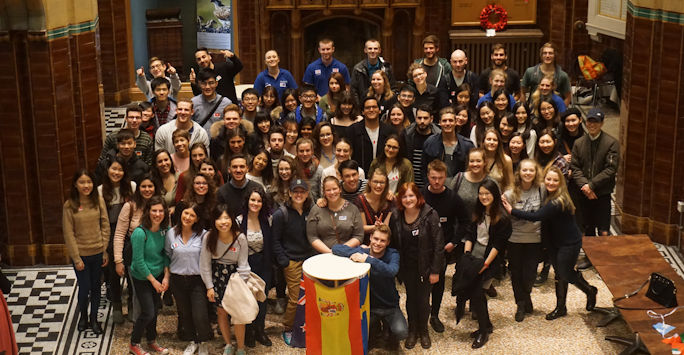 Image of Study Abroad students at Welcome Event at the University of Liverpool