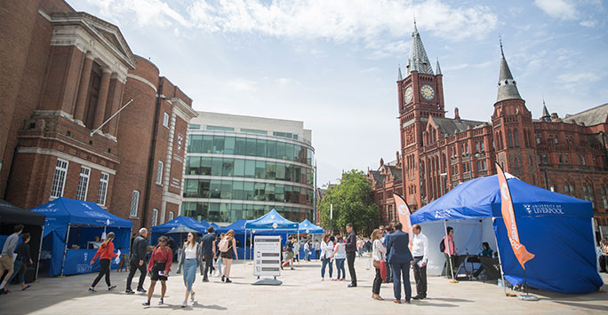 A open day fair at the University of Liverpool infront of the Victoria Building.