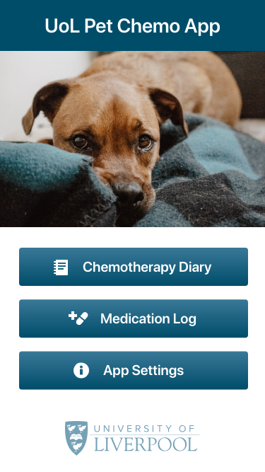 Pet Chemotherapy App - Home Screen