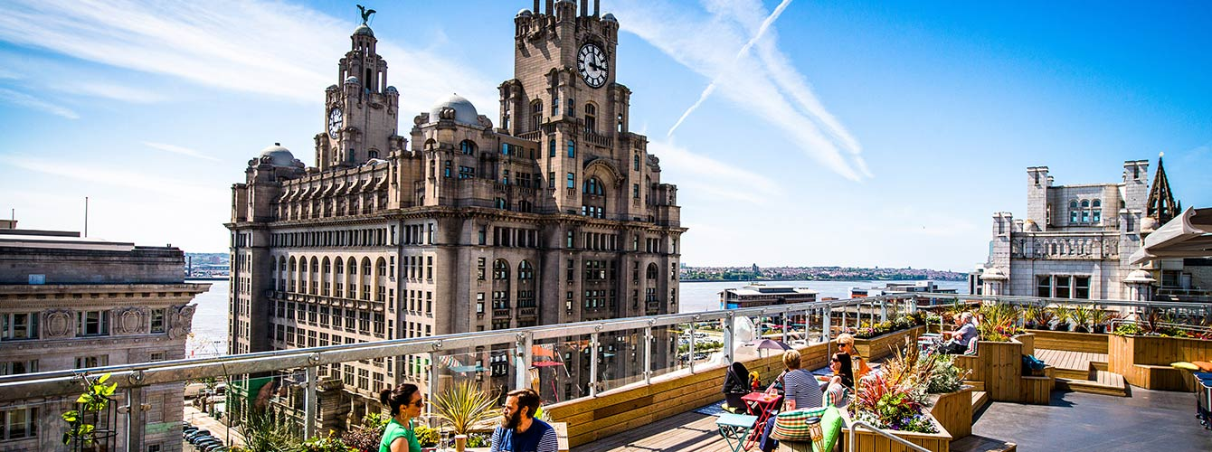 Liver buildings in Liverpool with the River Mersey in the background