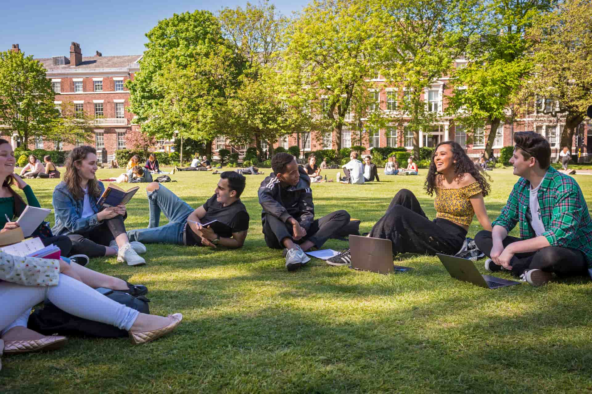 Abercromby Square with students sitting on grass