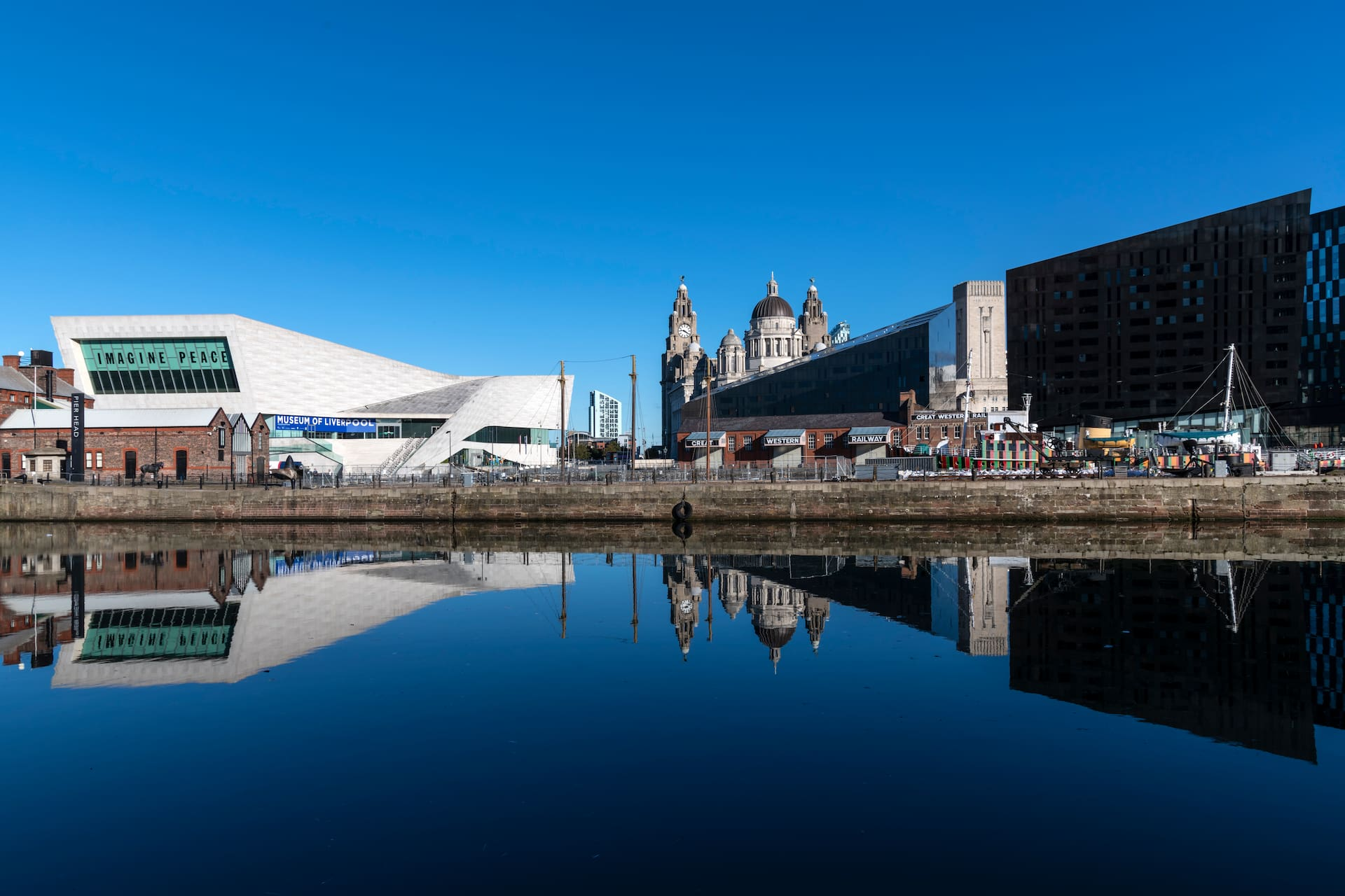 Liverpool city on a sunny day with blue sky