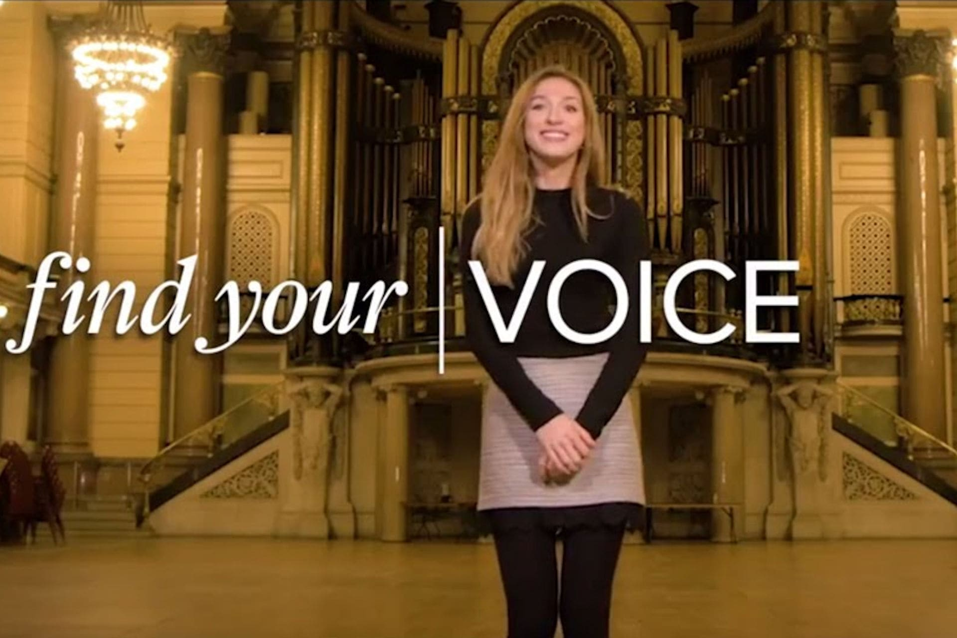 Student stood inside Cathedral building with words Find your VOICE overlaid