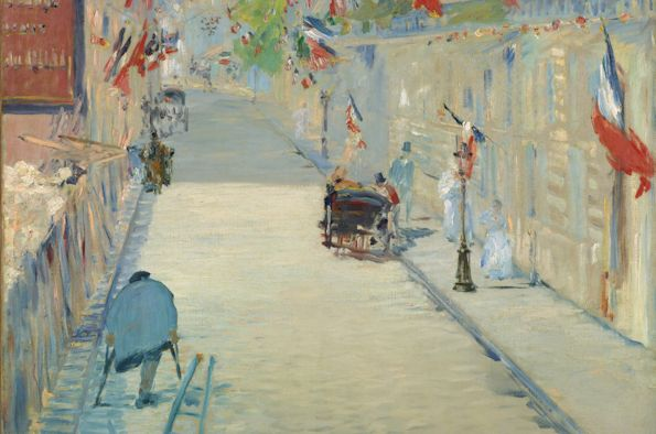 """The Rue Mosnier with Flags,"" Édouard Manet (1878); image courtesy of Wikicommons"