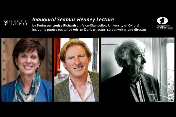 Portrait photos of Prof Louise Richardson, Adrian Dunbar and Seamus Heaney