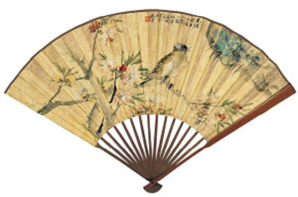 Ren Bohemian Peach Blossom and Bird Fan