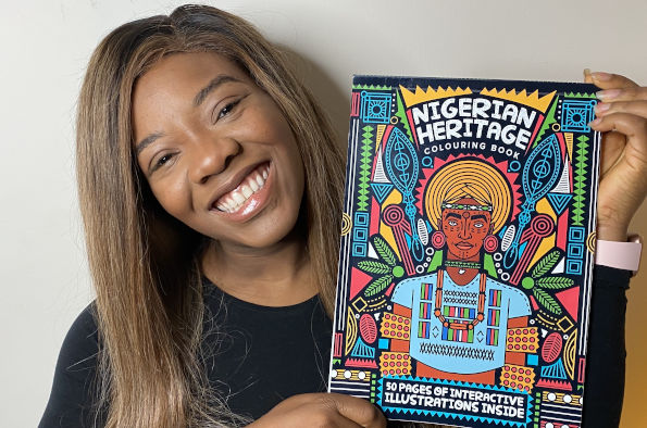 Nana Nubi with the Nigerian Heritage Colouring Book