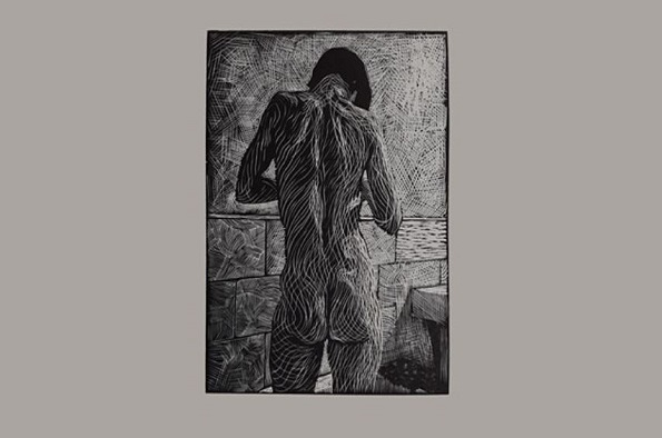 Body seen as flame, wood engraving by Frederick Jones ARBSA