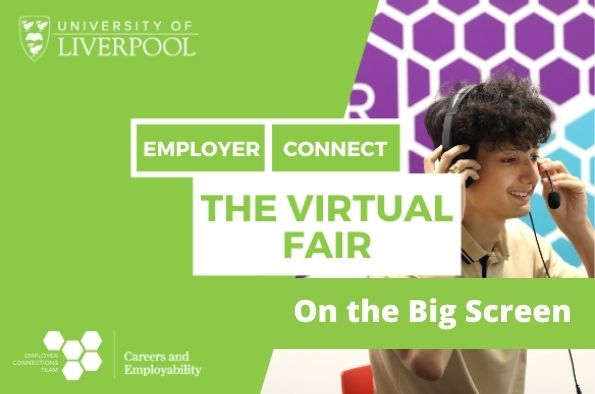 The Virtual Fair on the big screen on campus